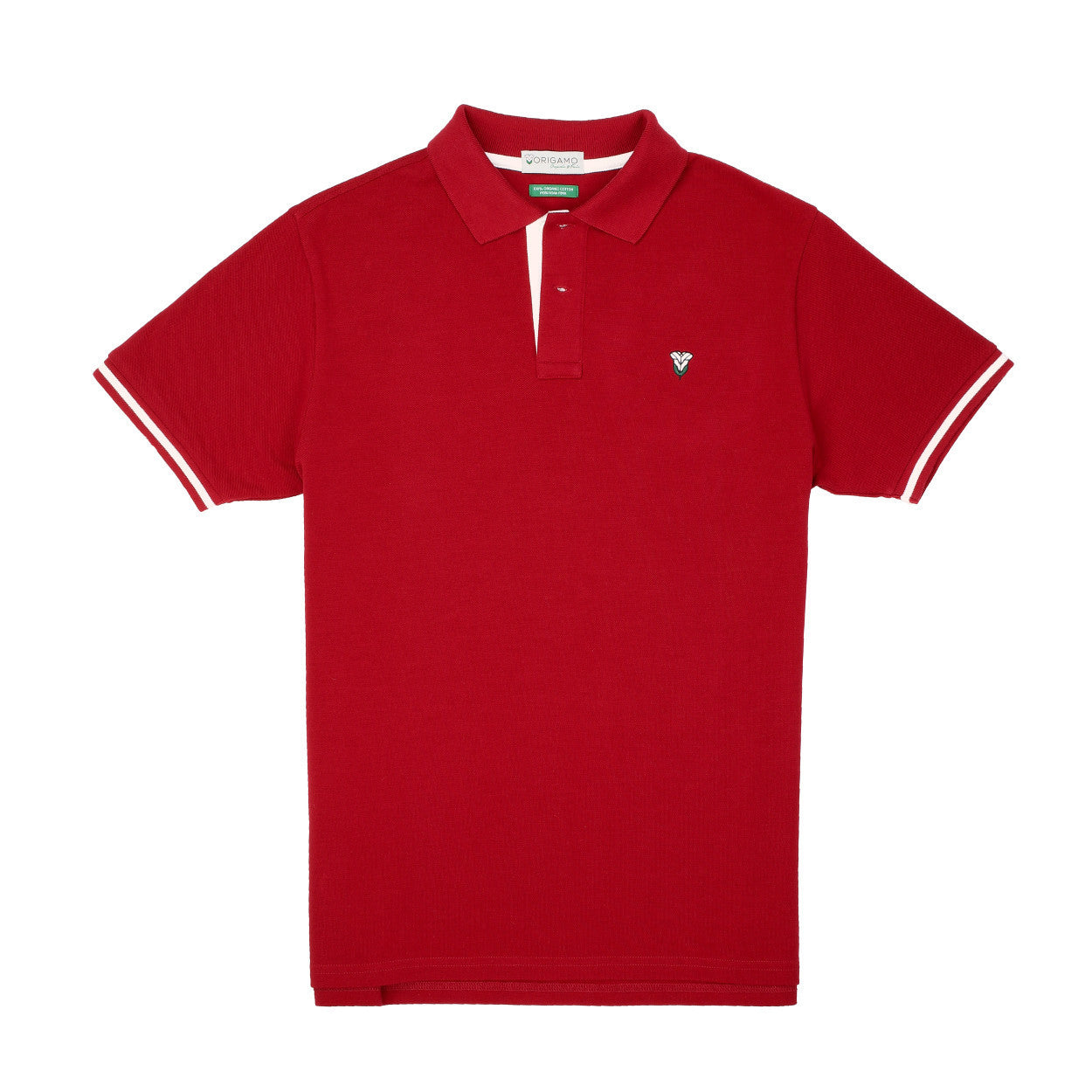 Pacific Polo Crimson Red Contrast White </br>Double Pique - 100% Organic Pima Cotton