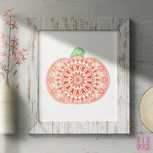 Freebie Friday SVG - Fall Mandala Pumpkin svg - hand drawn with built in feathers and hearts