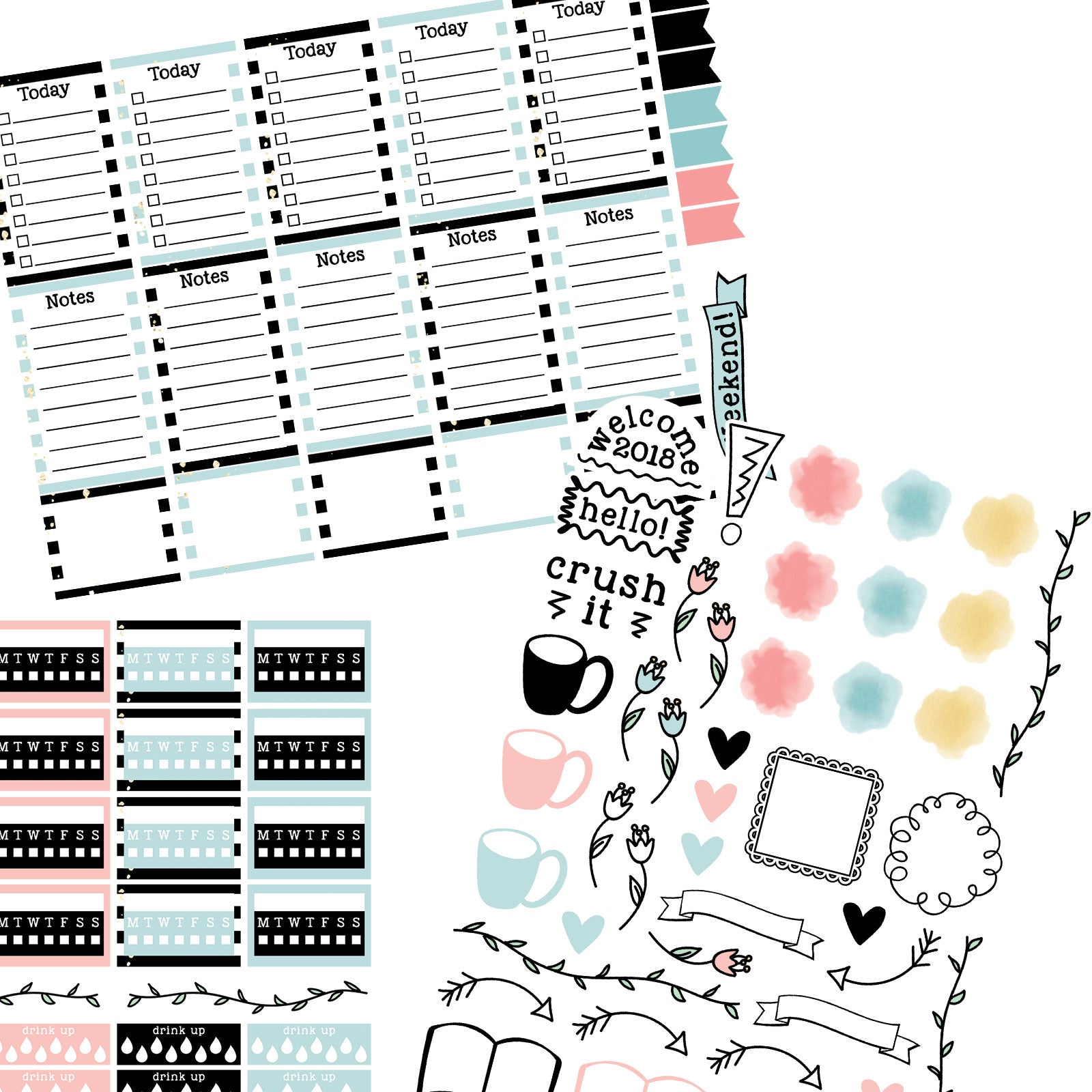 Monthly Freebie - January Planner Stickers with pink and blue striped theme, tracks, doodle page and more - Free for Personal Use
