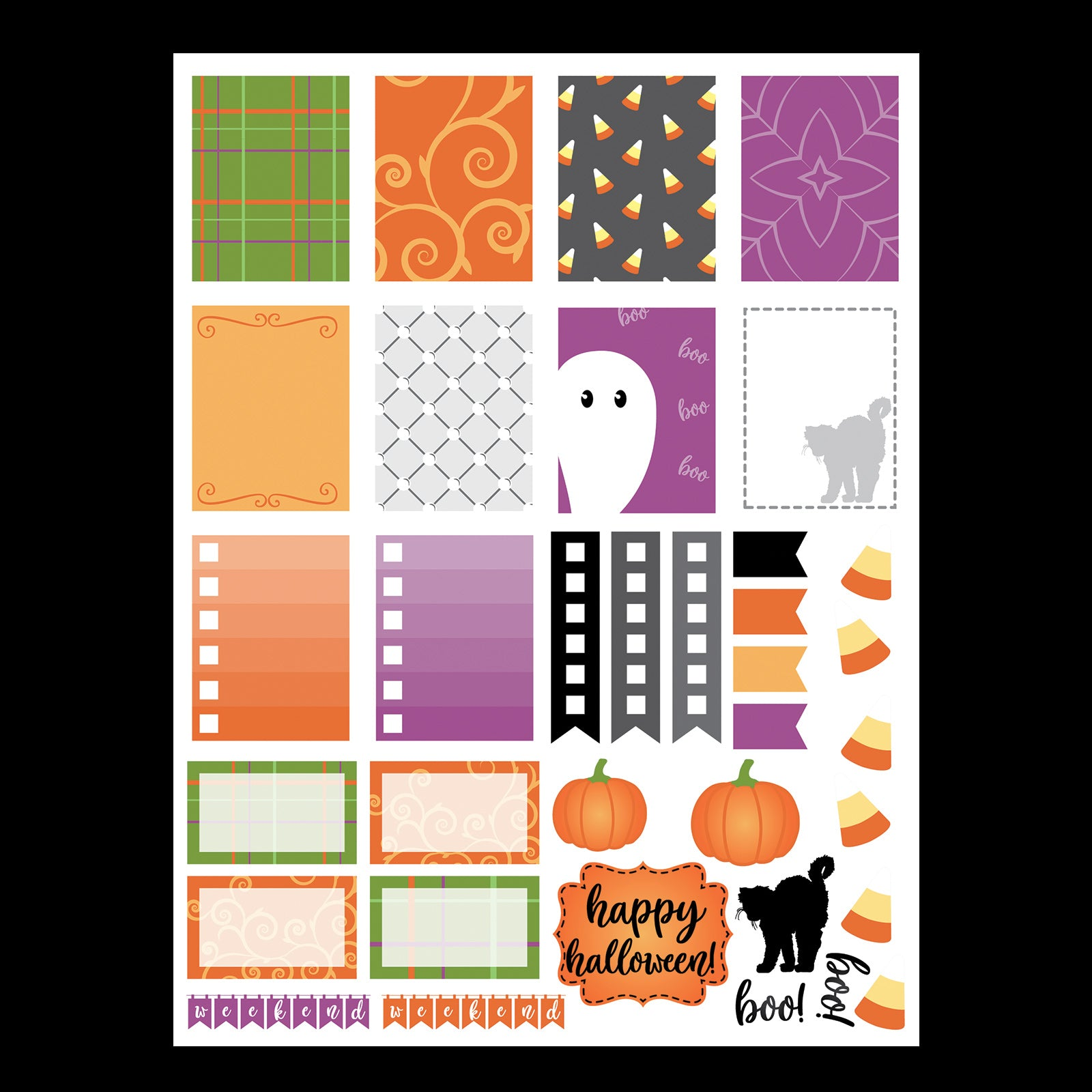 Monthly Freebie - October Planner Stickers in png and pdf formats to get you in the Halloween mood - Free for Personal Use