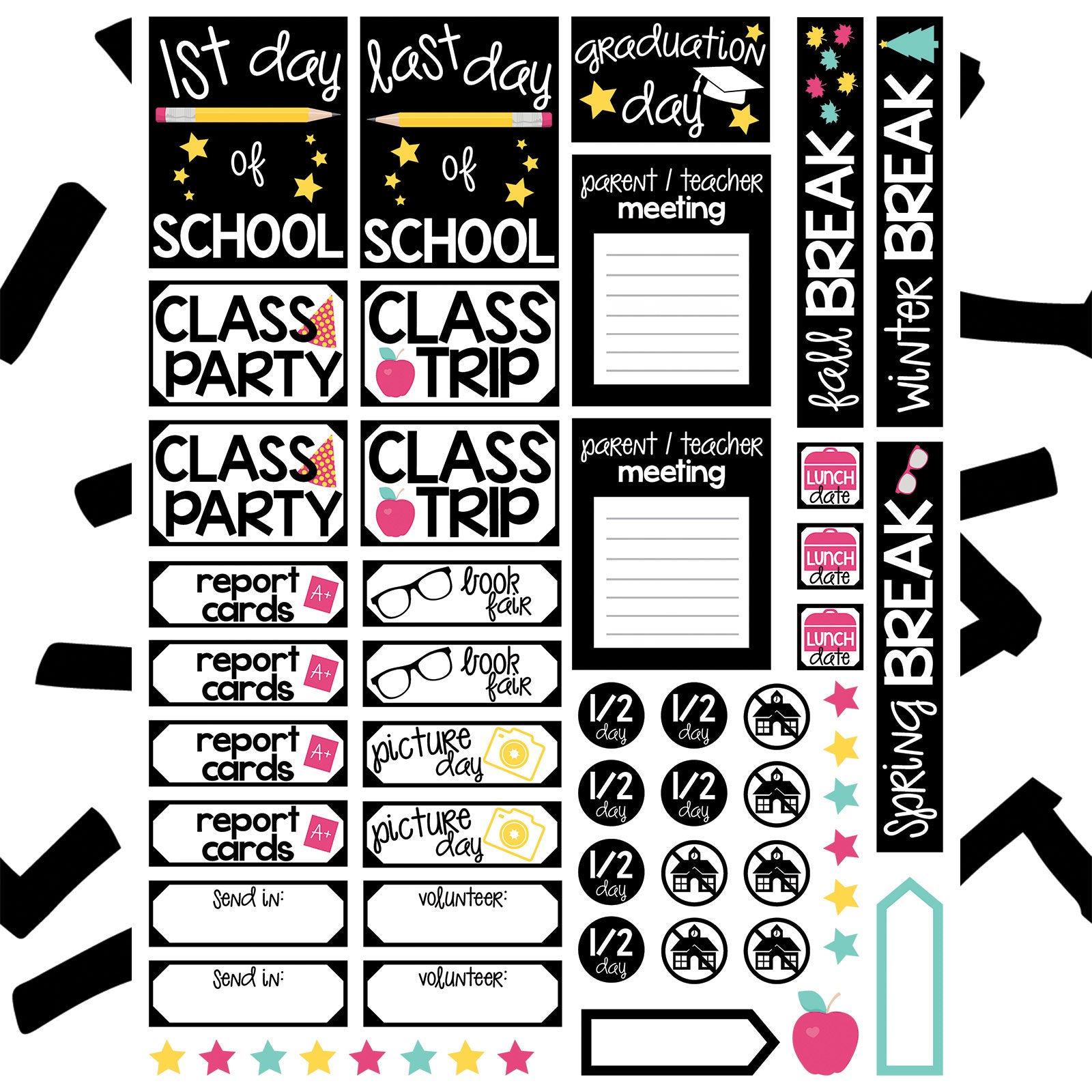 Monthly Freebie - Back to School Planner Stickers - everything you need from class trip reminders to graduation - Free for Personal Use