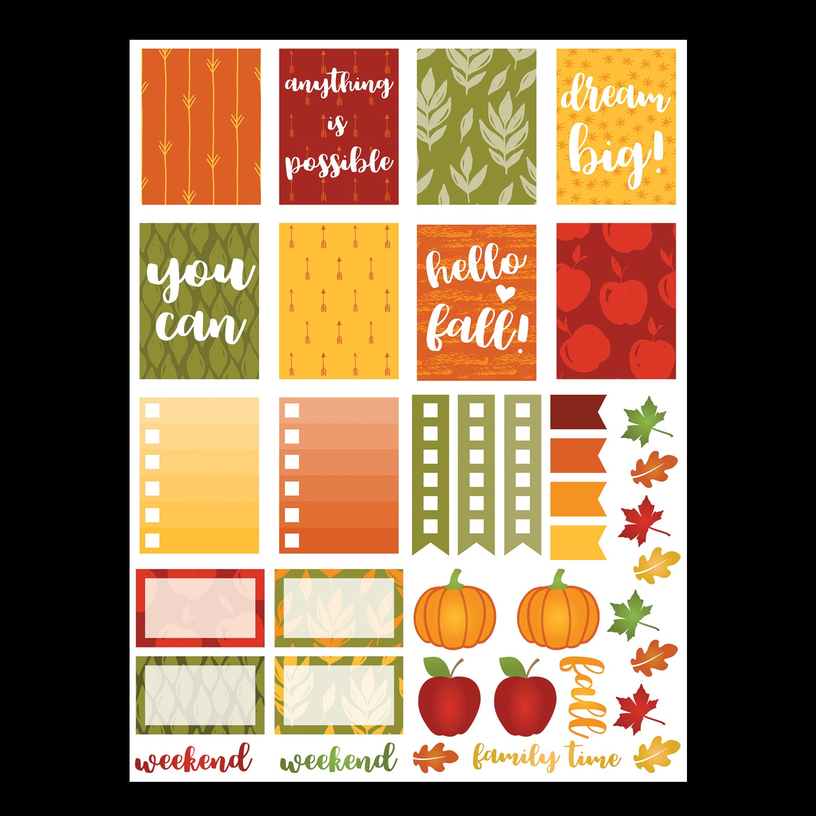 Monthly Freebie - September Planner Stickers with a harvest theme and fun pumpkin, apples and leaves - Free for Personal Use