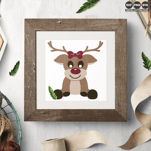 Freebie Friday SVG - Set of boy and girl Reindeer svg files in a sitting position with over sized features and a cute bow for the girl