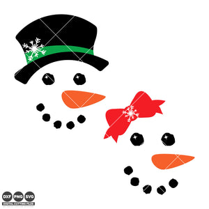 Freebie Friday SVG - Set of boy and girl Snowman Face svg files