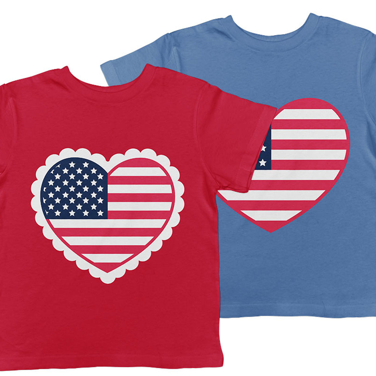 American Flag Heart svg files in plain border or scallop border - Free for Commercial Use