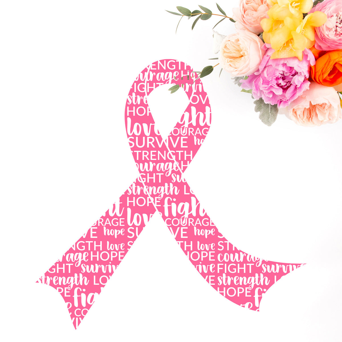Freebie Friday SVG - Set of 2 awareness ribbons - one plain for any cause and one knockout filled with inspirational words for breast cancer awareness - Free for Commercial Use