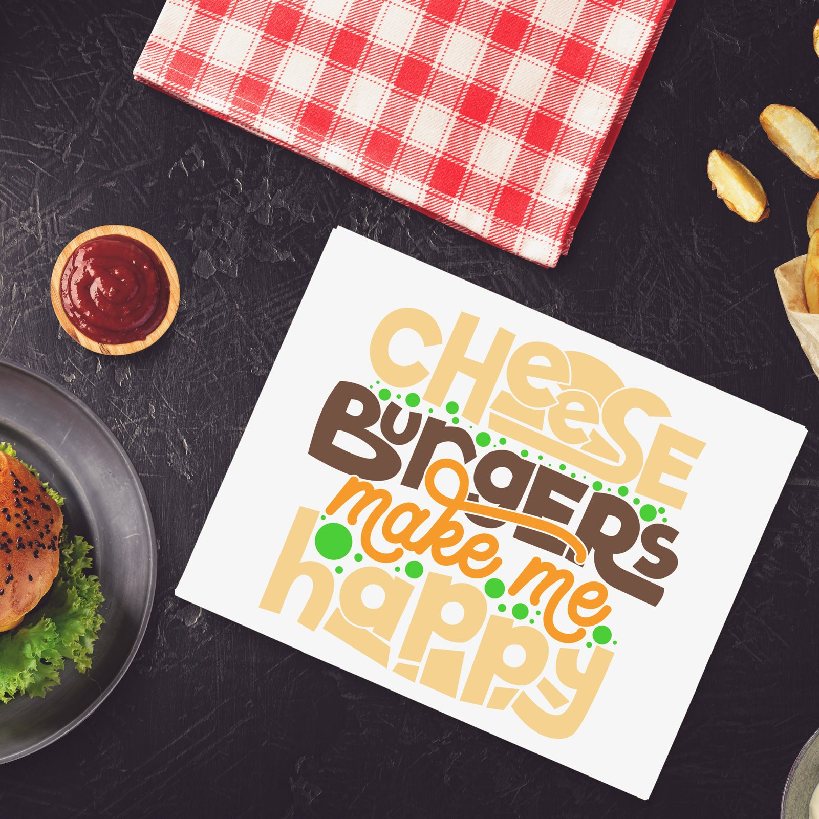Freebie Friday | Cheeseburgers Make Me Happy Saying Cut File | SVG DXF EPS PNG