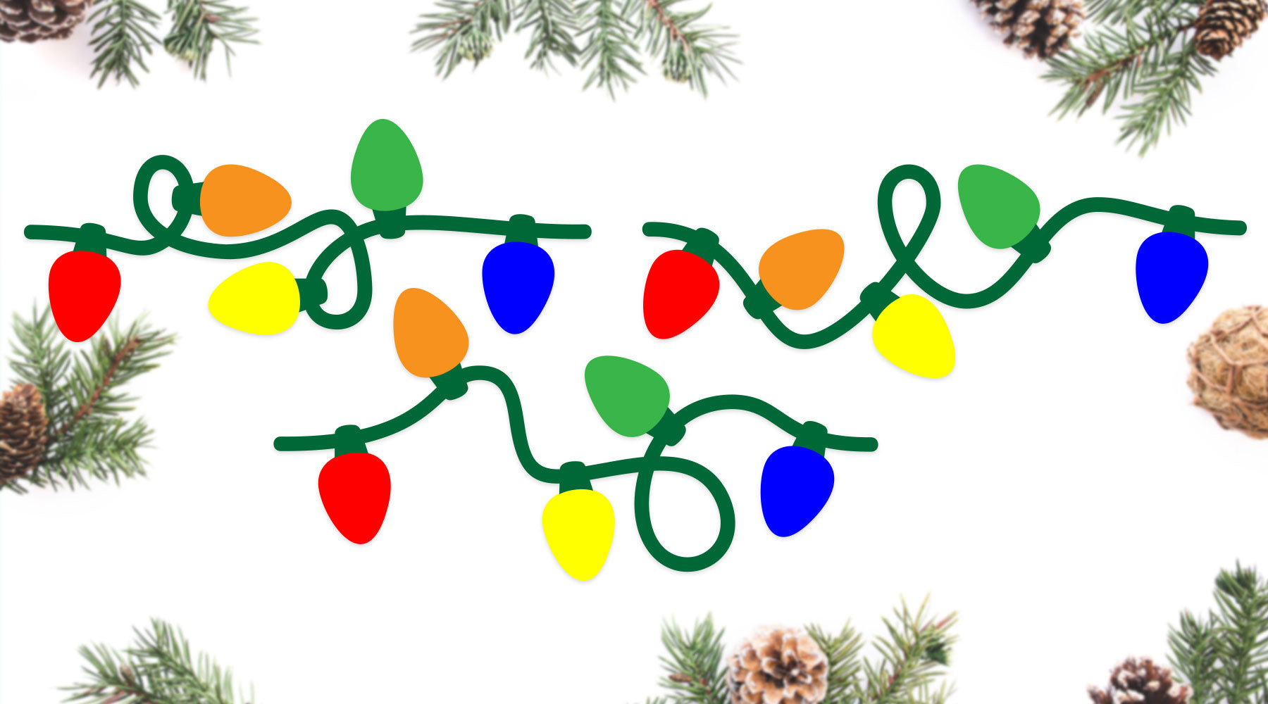 Seamless Christmas Light Strands | SVG DXF EPS PNG Cut Files | Free for Personal Use
