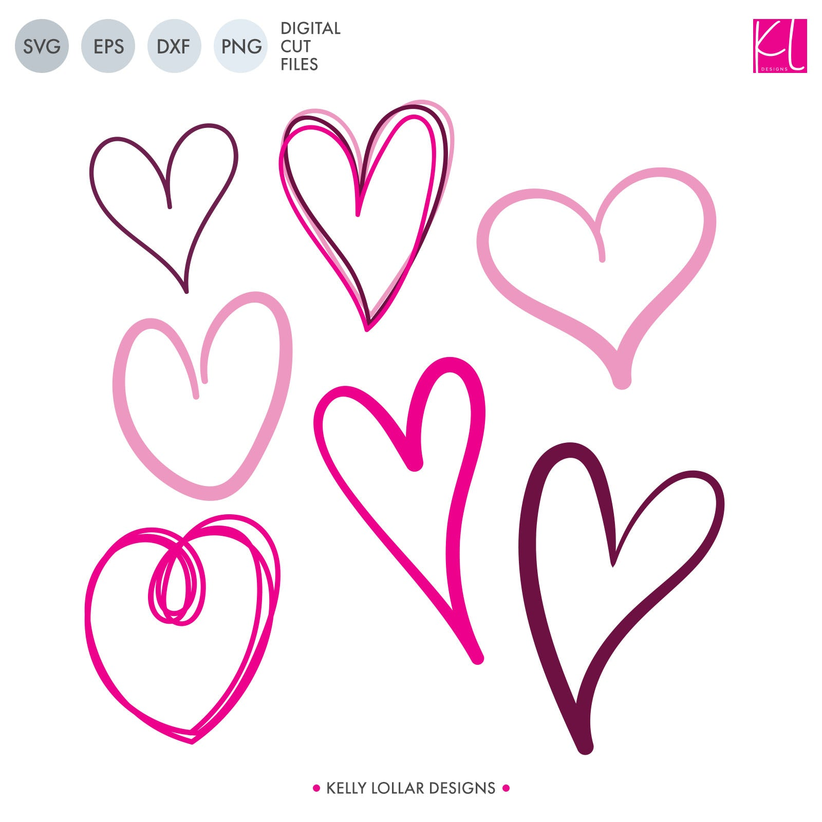 Free Doodle Hearts SVG Cut Files - Kelly Lollar Designs