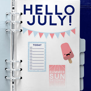 Patriotic Themed Print and Cut Planner Sticker Set for July 2018