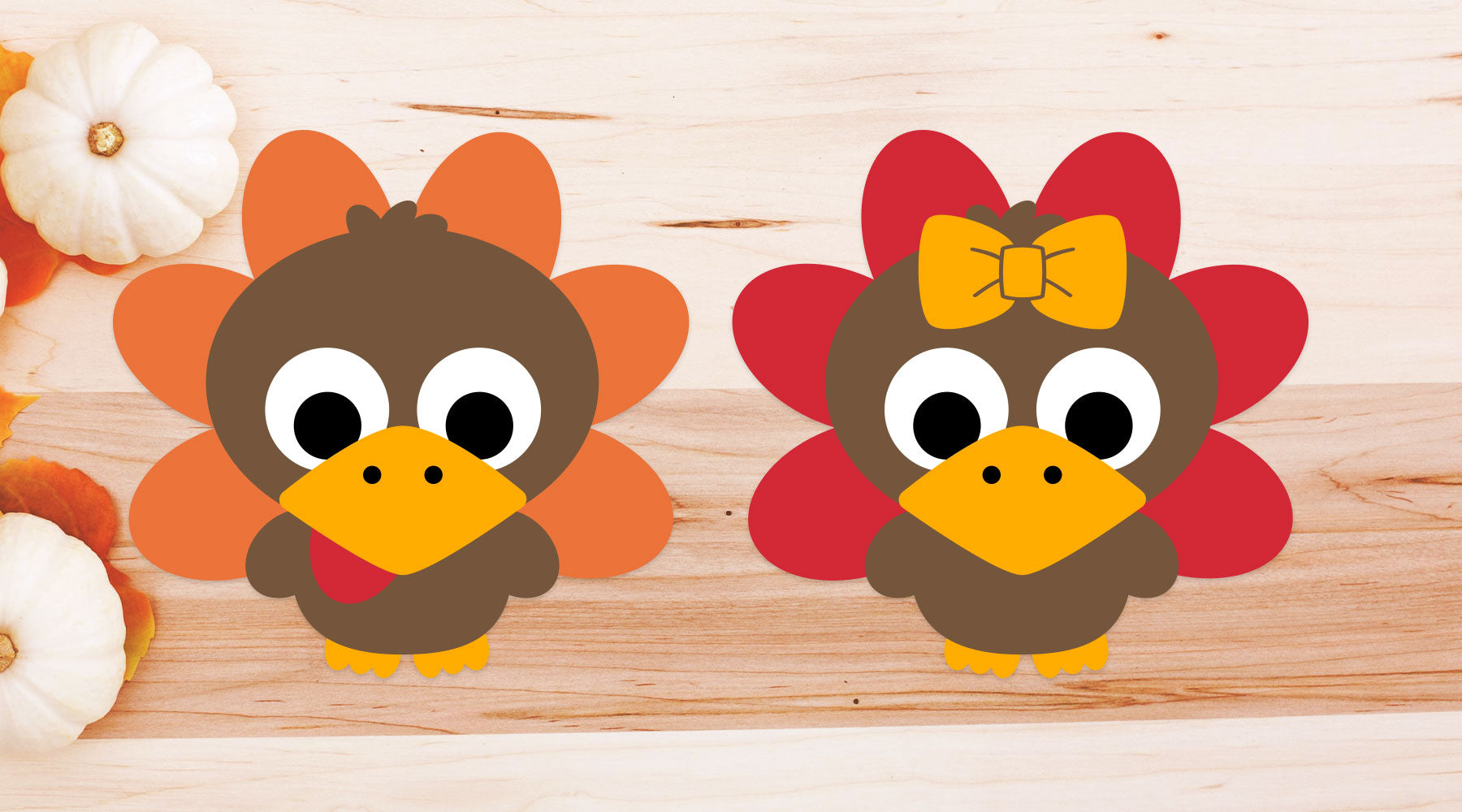 Cute Turkey Characters for Children's Thanksgiving Shirts | SVG DXF EPS PNG Cut Files | Free for Personal Use