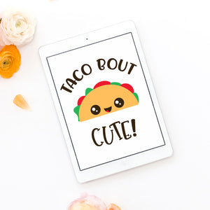 Freebie Friday svg cut file - Taco Bout Cute svg with cute smiling taco - Free for Personal Use