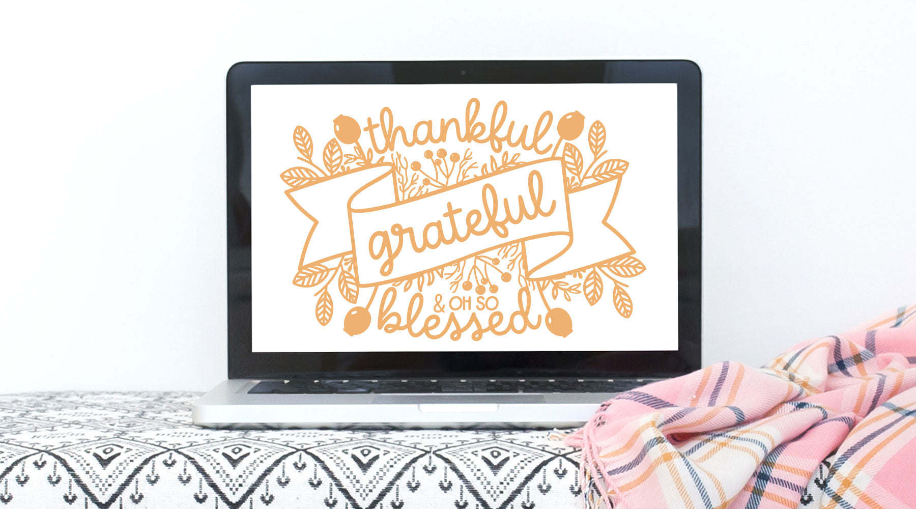 Floral Adorned Thankful Grate and Blessed Quote | SVG DXF EPS PNG Cut Files | Free for Personal Use