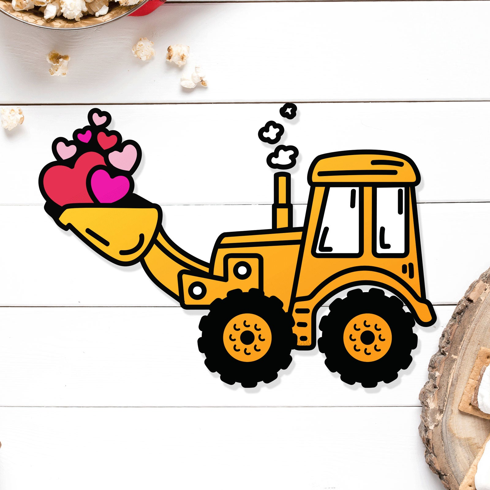 Heart Filled Backhoe Free Valentine's Day Cut Files | SVG DXF EPS PNG