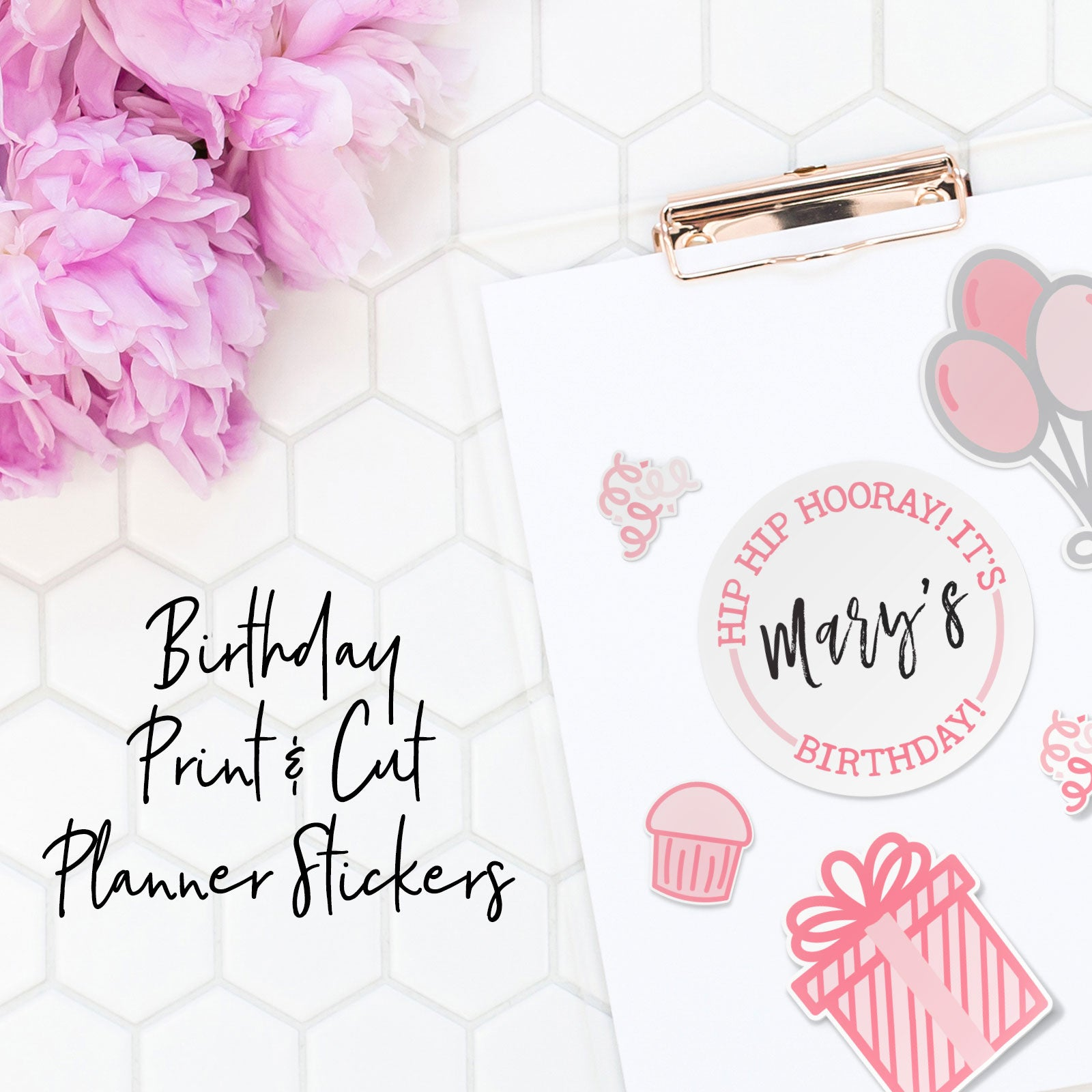Monthly Freebie | November 2018 Birthday Themed Print and Cut Planner Stickers