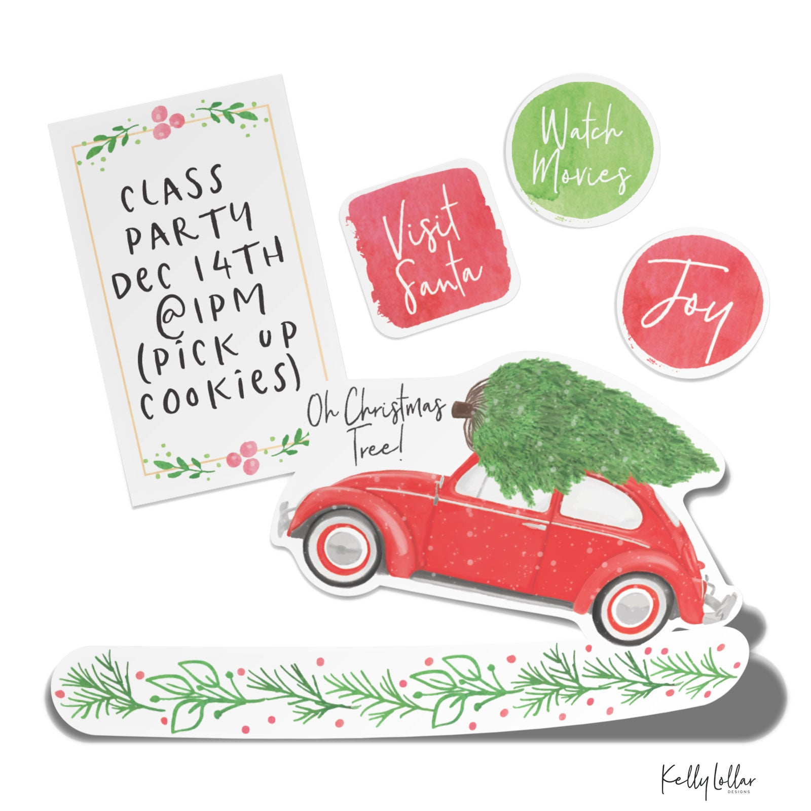 Monthly Freebie | December 2018 Christmas Themed Print and Cut Planner Stickers