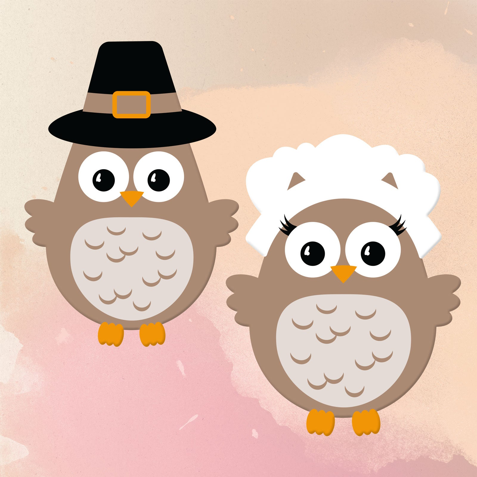 Freebie Friday | Boy and Girl Pilgrim Owl SVG Set | SVG DXF PNG