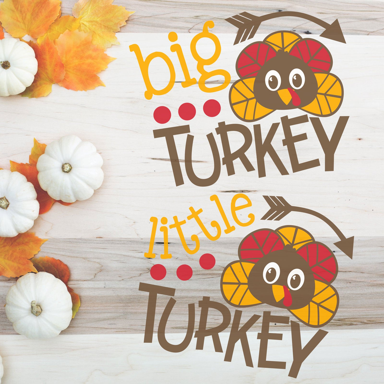 Freebie Friday | Matching Big, Middle & Little Turkey Sibling SVG Set | SVG DXF PNG