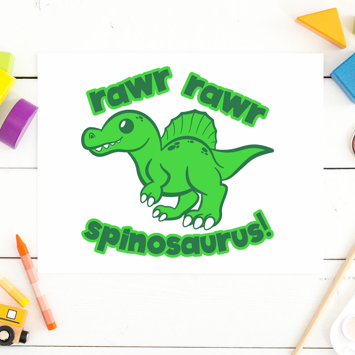 Freebie Friday | Cute Spinosaurus with Quote | SVG DXF PNG