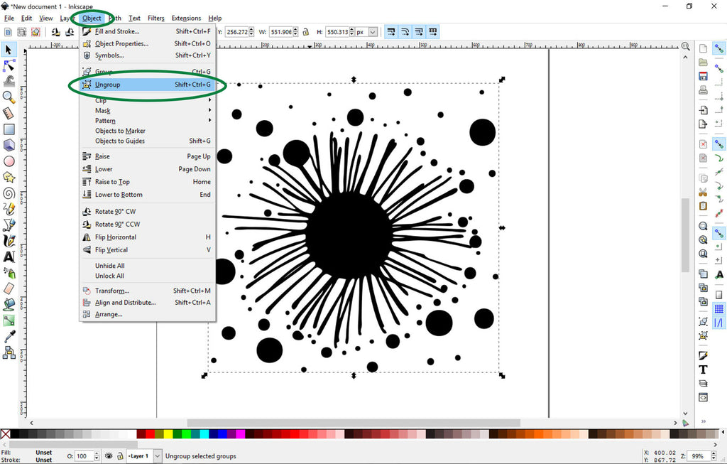 Ungrouping an SVG File in Inkscape