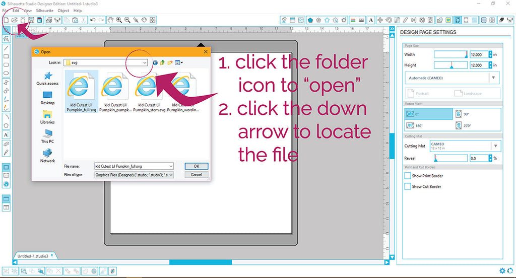 Using the open icon in Silhouette Studio