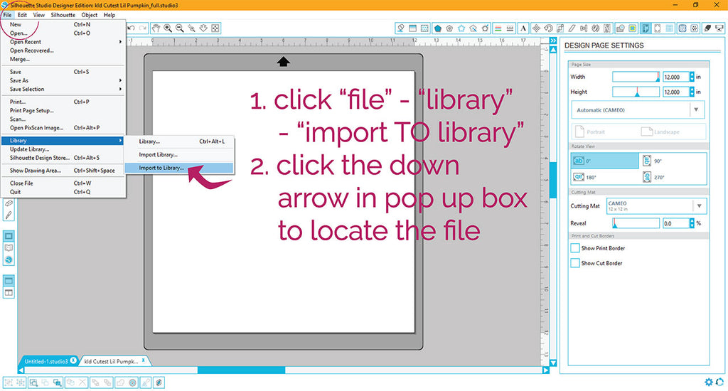 Using the import function in Silhouette Studio