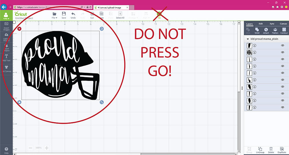 Do not press go if your svg file in not welded in Cricut Design Space