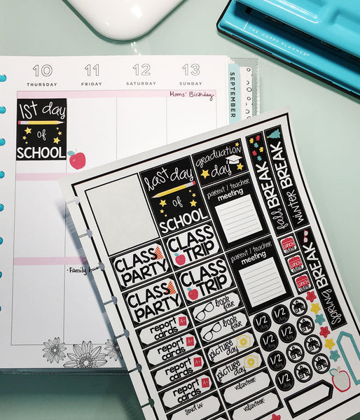 Completed planner stickers printed using Cricut Design Space