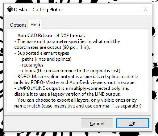 Inkscape Pop-up page two when saving a dxf