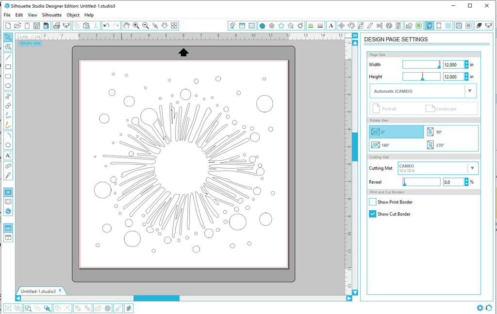 Your new dxf file opened in Silhouette Studio