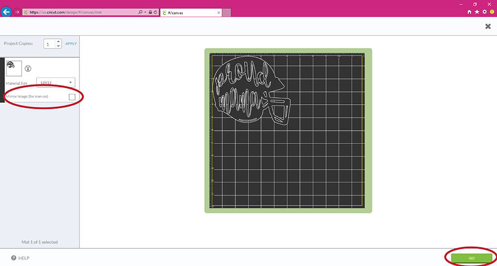 Mirroring an image in Cricut Design Space