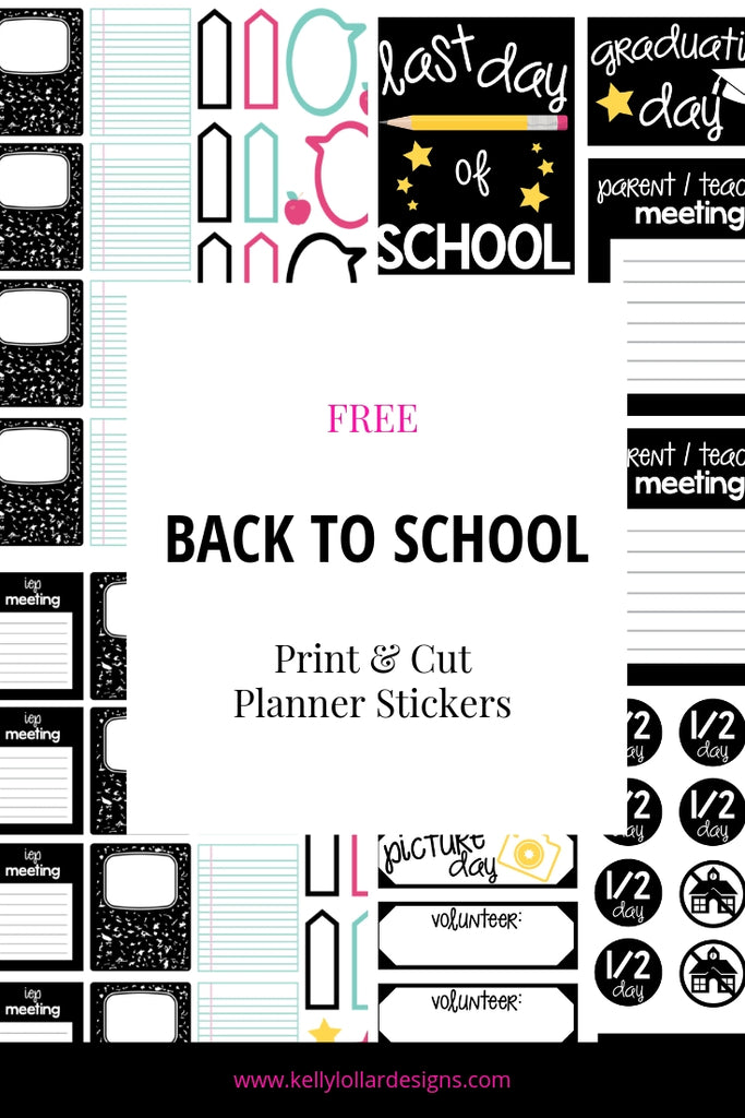 Back to School Planner Sticker and Matching SVG Cut File Set