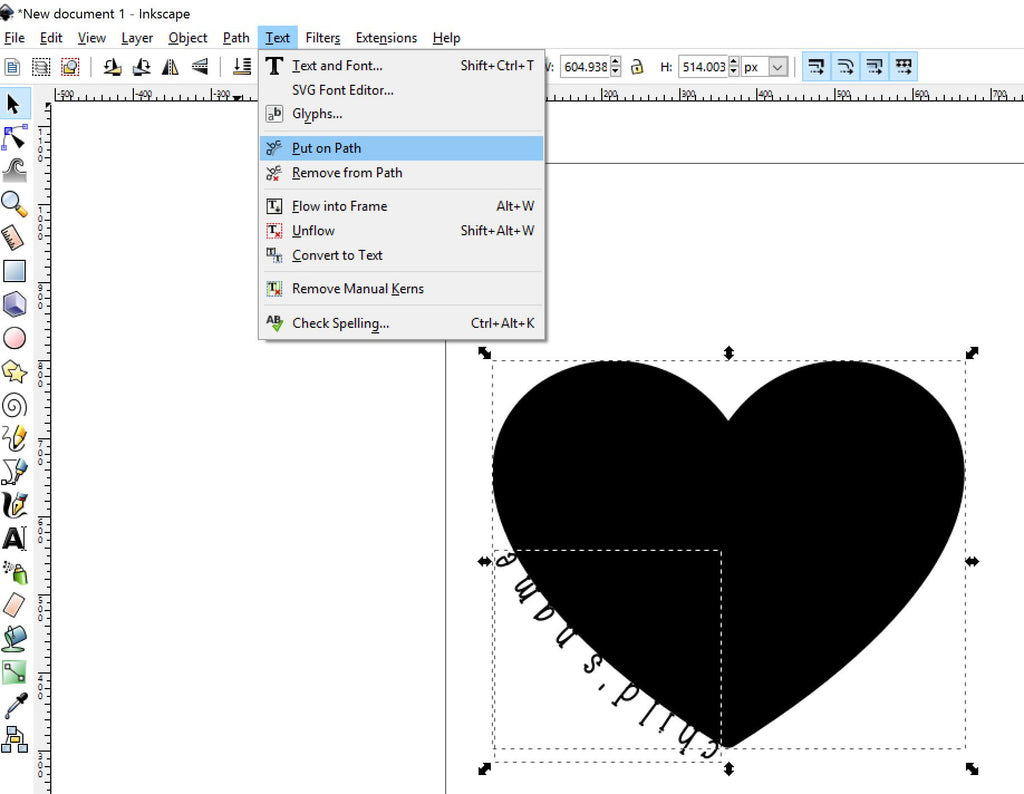Placing text on a path in Inkscape
