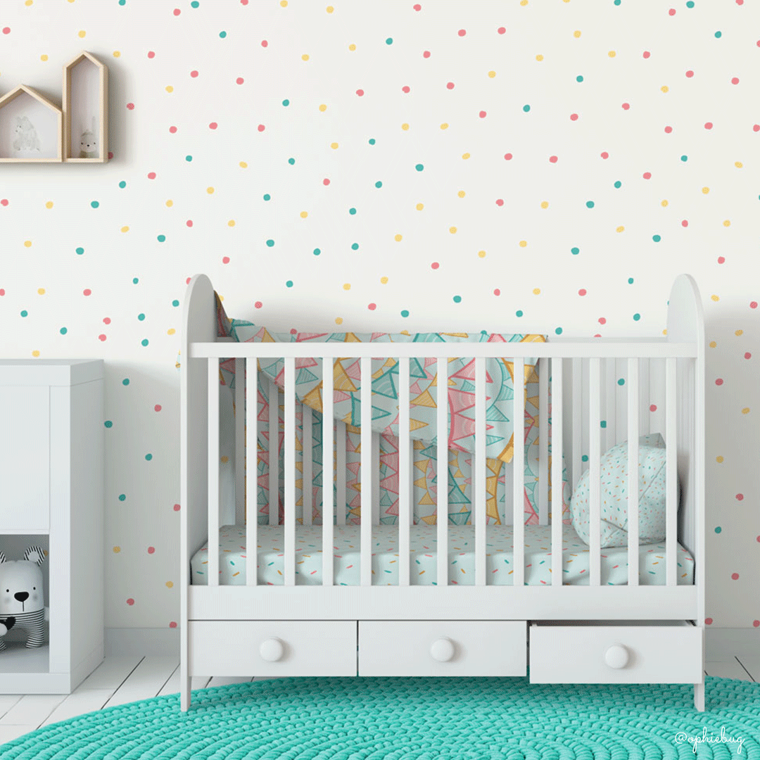 Multiple Patterns from the Little Baker Bear Collection on Nursery Decor by Ophiebug