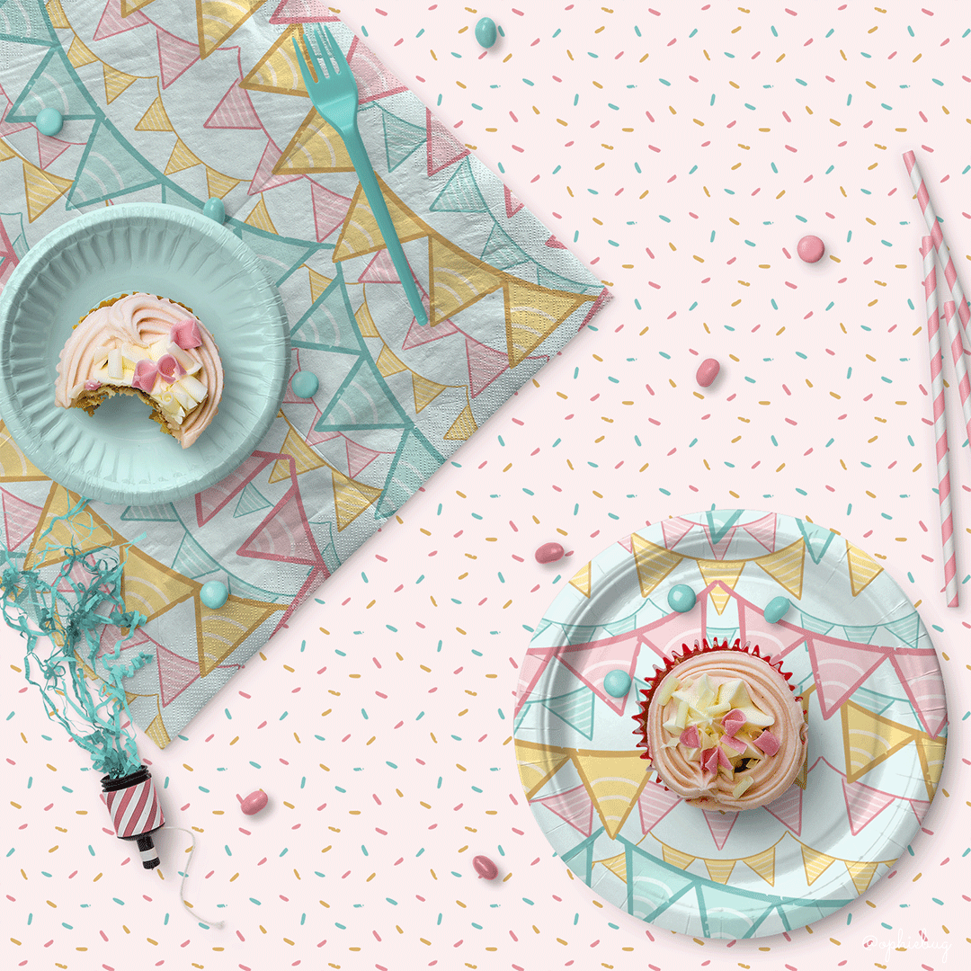 Multiple Patterns from the Little Baker Bear Collection on Partyware by Ophiebug
