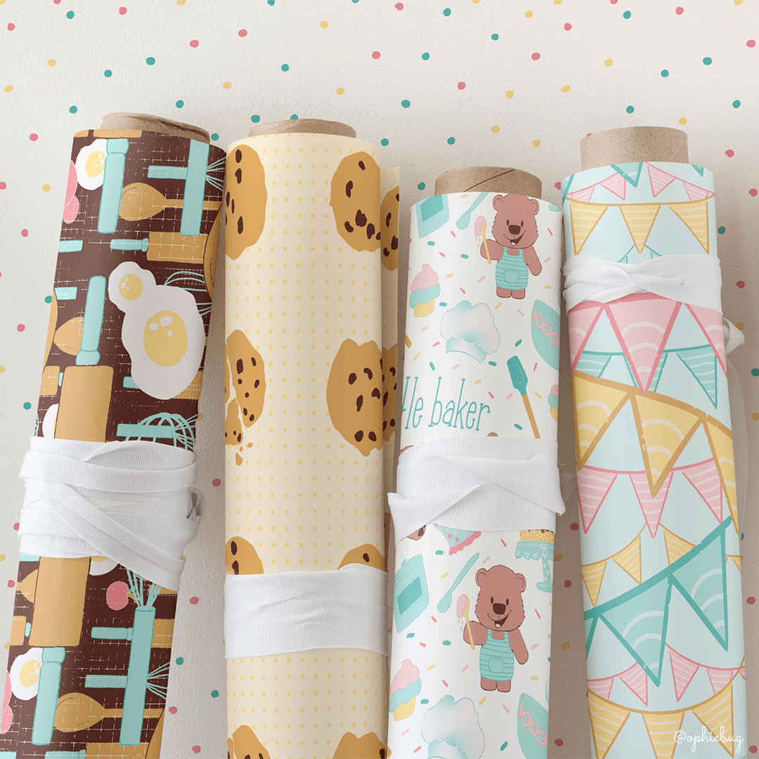 Little Baker Bear Collection on Wrapping Paper