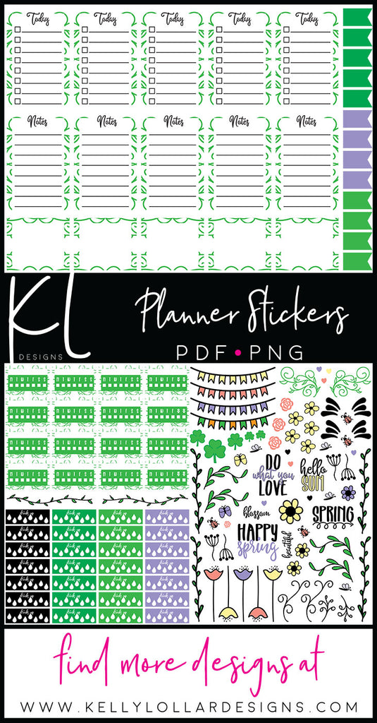 March Print and Cut Planner Stick Set in PDF and PNG - Free for Personal Use