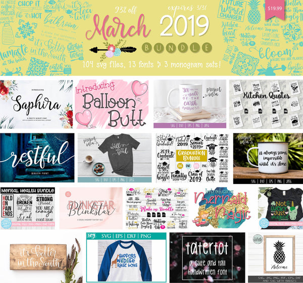 So Fontsy's March 2019 SVg Cut File and Font Bundle