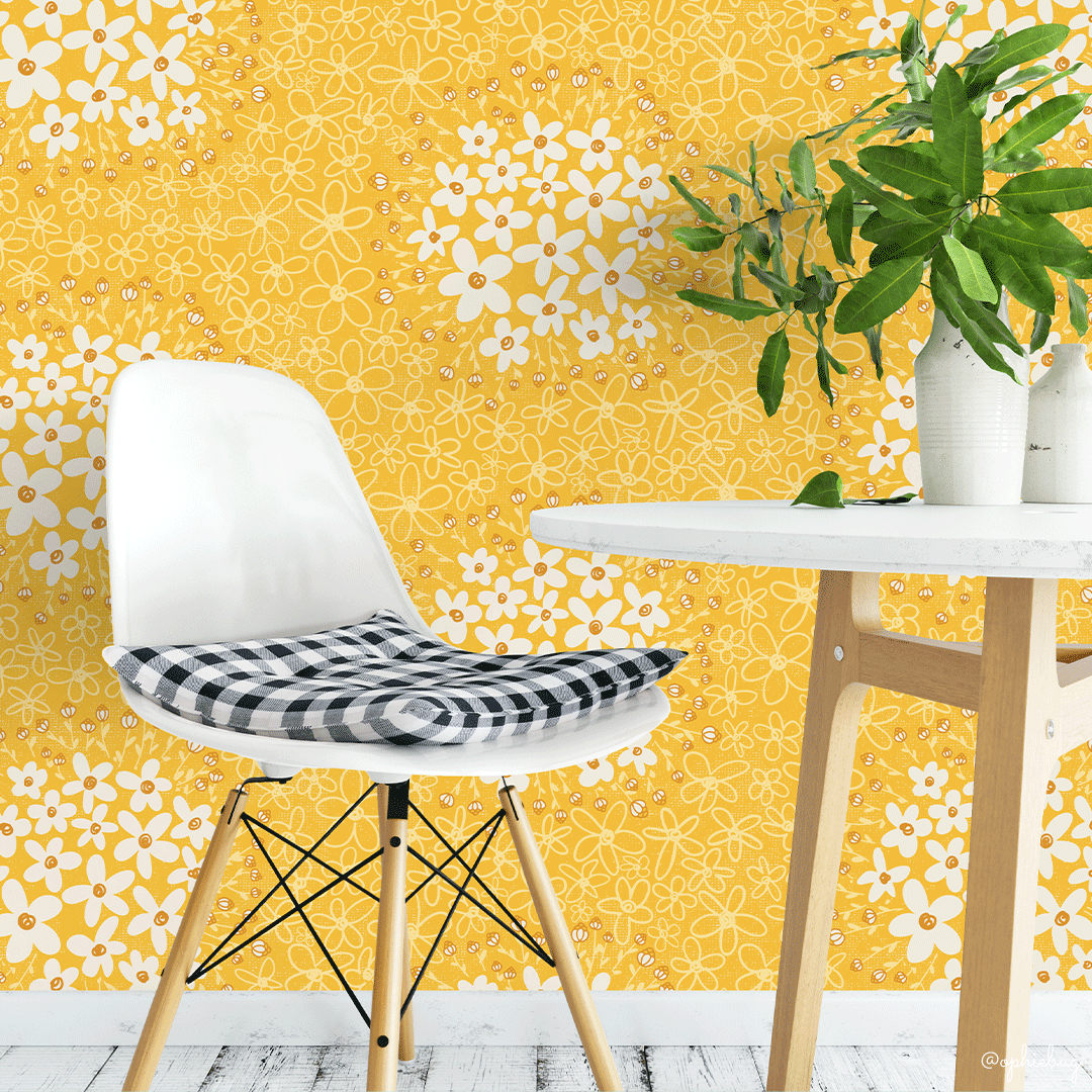 Foraging for Daisies on Wallpaper