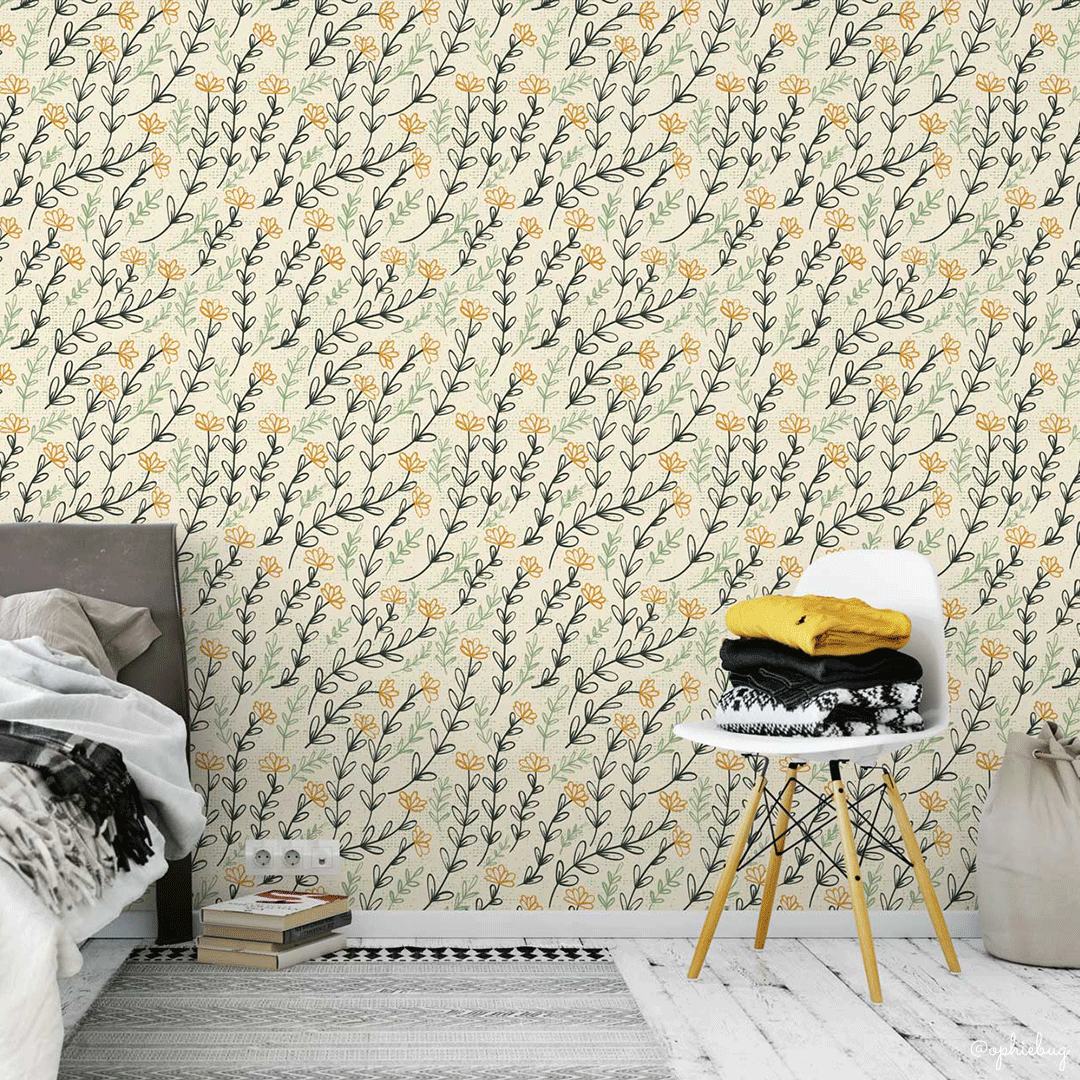 Petal Shower Pattern on Wallpaper by Ophiebug