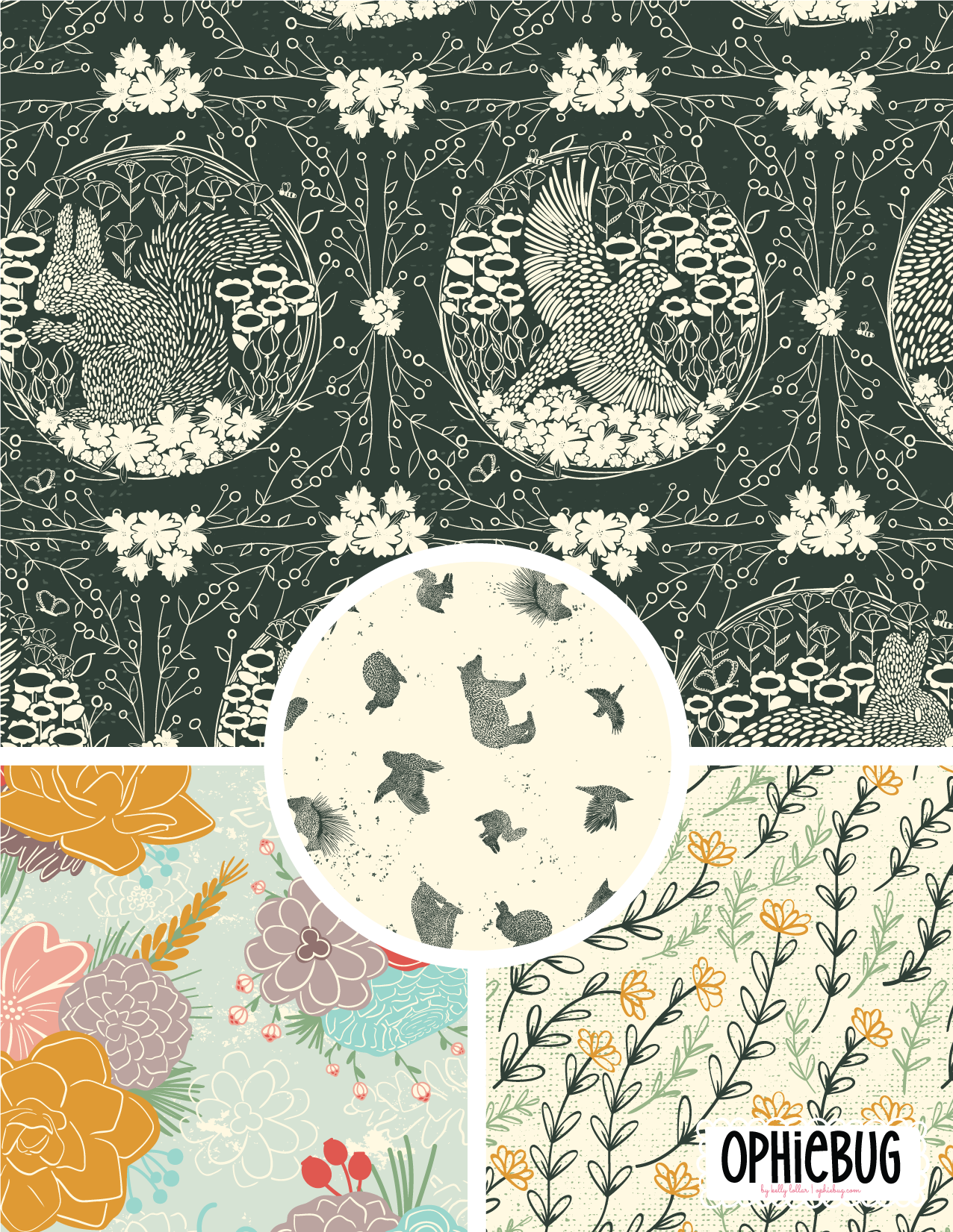 Pine Forest Friends Pattern Collection Light Green