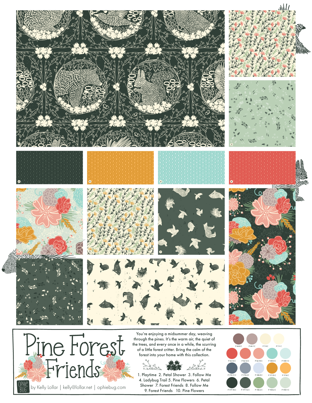 Pine Forest Friends Pattern Collection Colorway 1