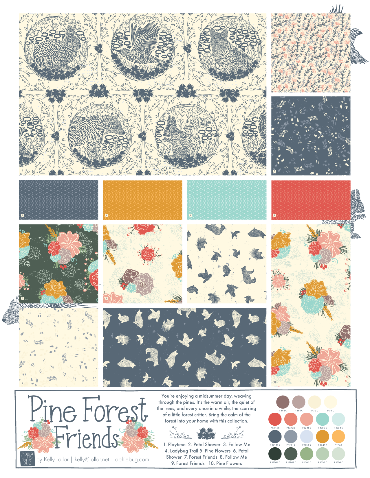 Pine Forest Friends Pattern Collection Colorway 2