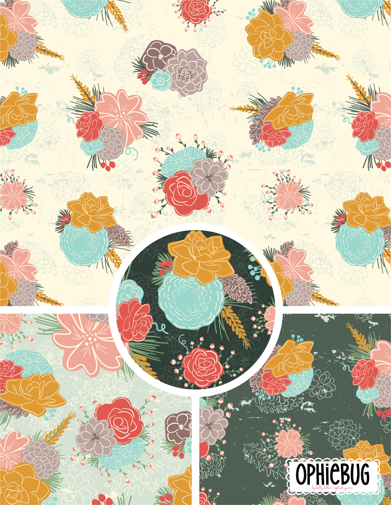 Pine Forest Flowers Pattern
