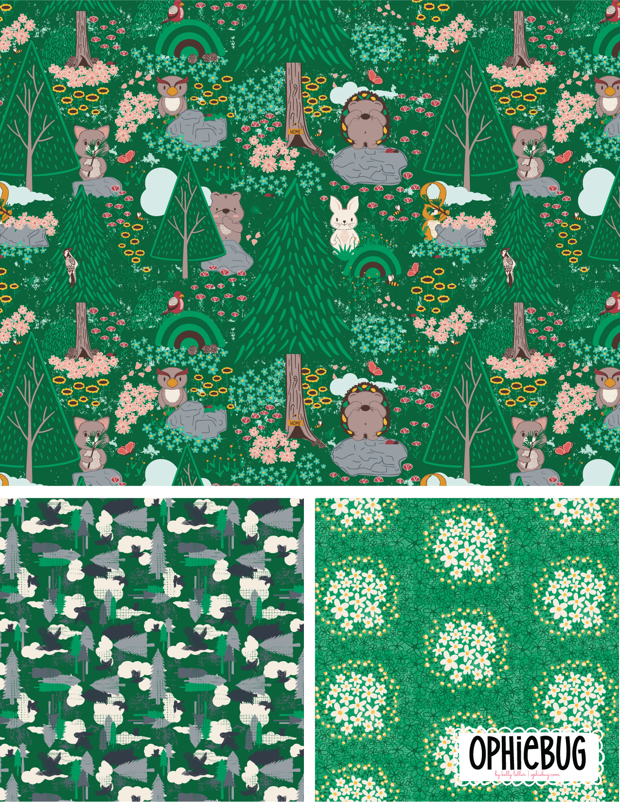 Porcupine and Friends Pattern Collection Green