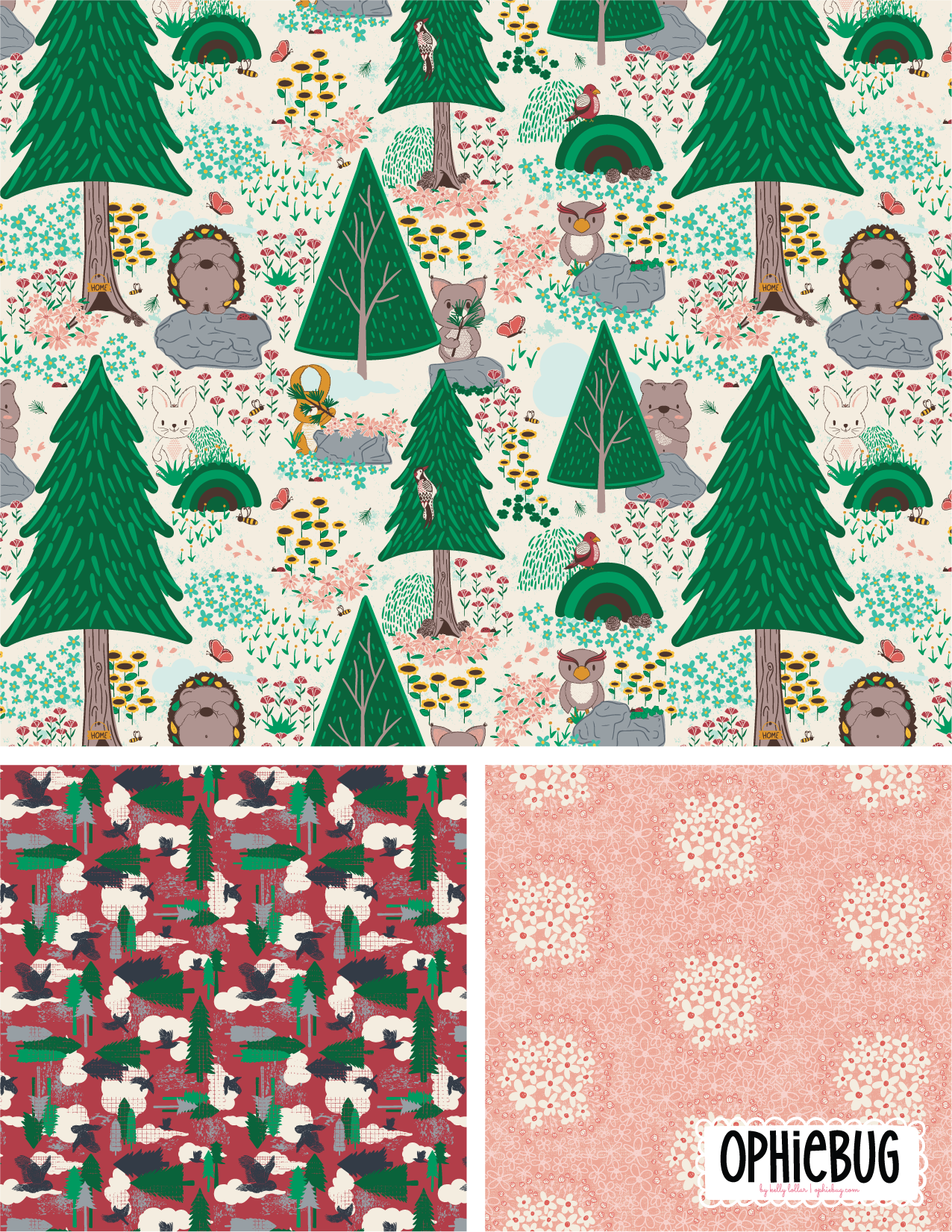 Porcupine and Friends Pattern Collection Pink