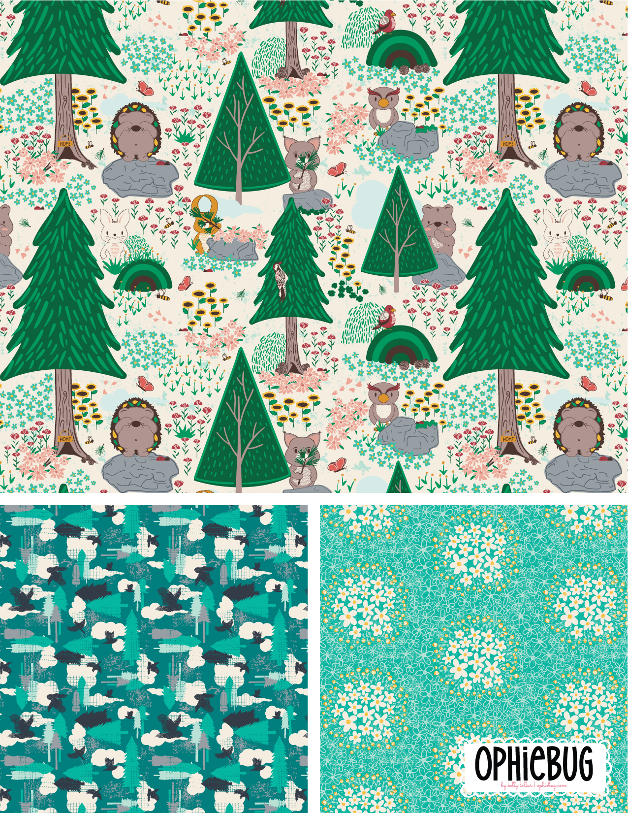 Porcupine and Friends Pattern Collection Teal