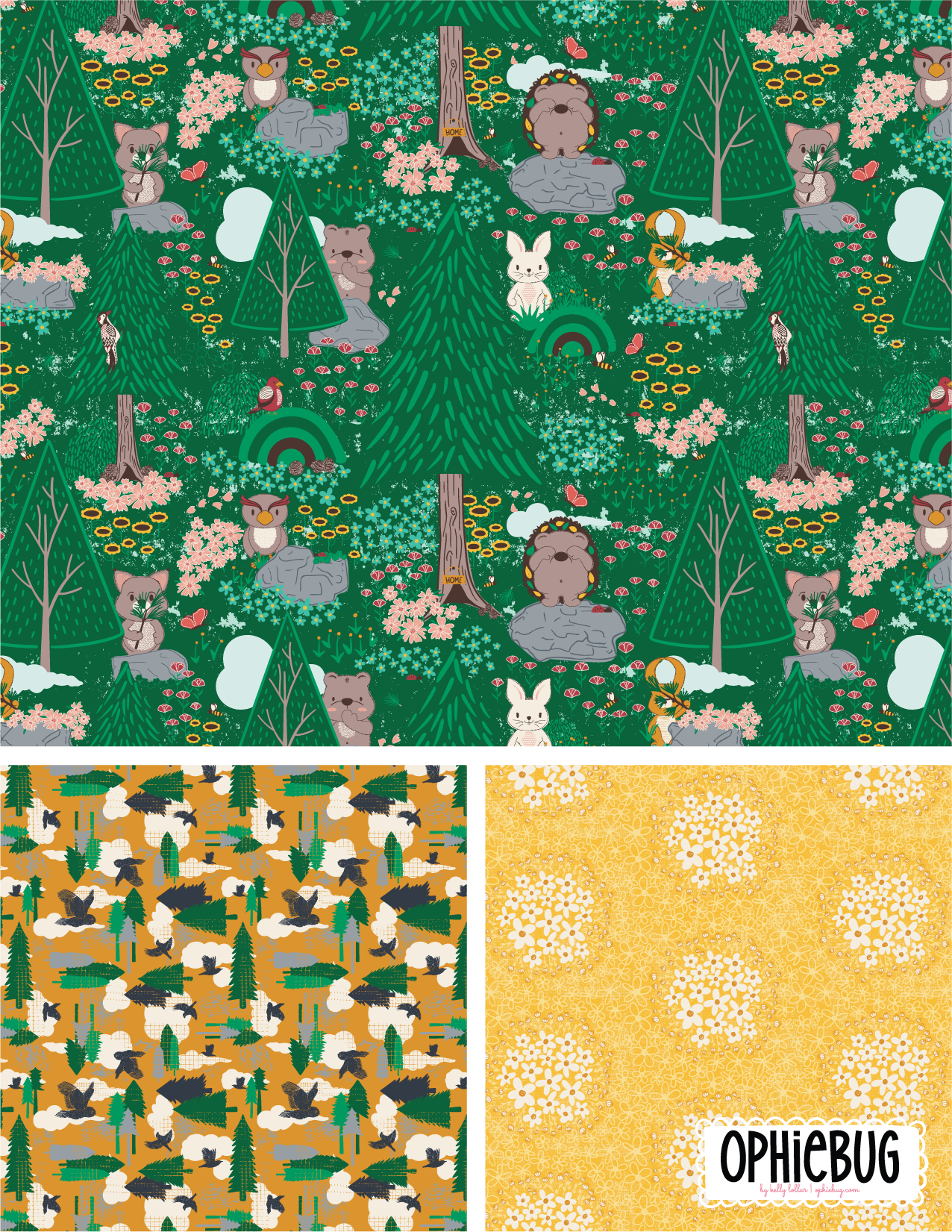 Porcupine and Friends Pattern Collection Yellow