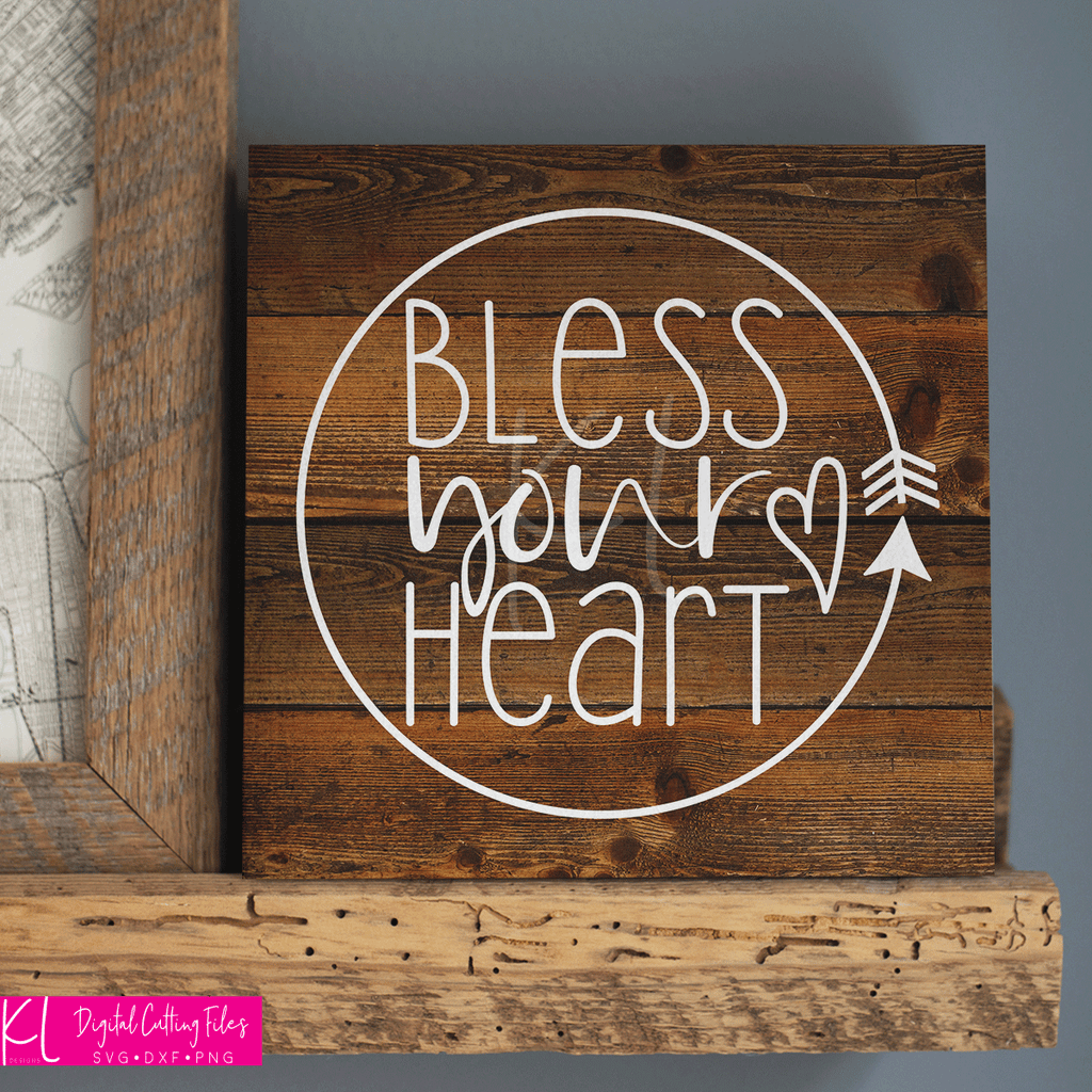 Wood sign made using the Bless Your Heart svg as a stencil