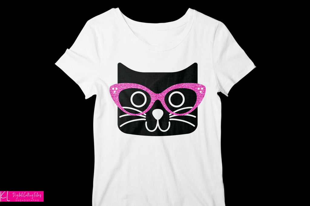 White women's shirt with the Cat with Glasses svg in black and hot pink glitter